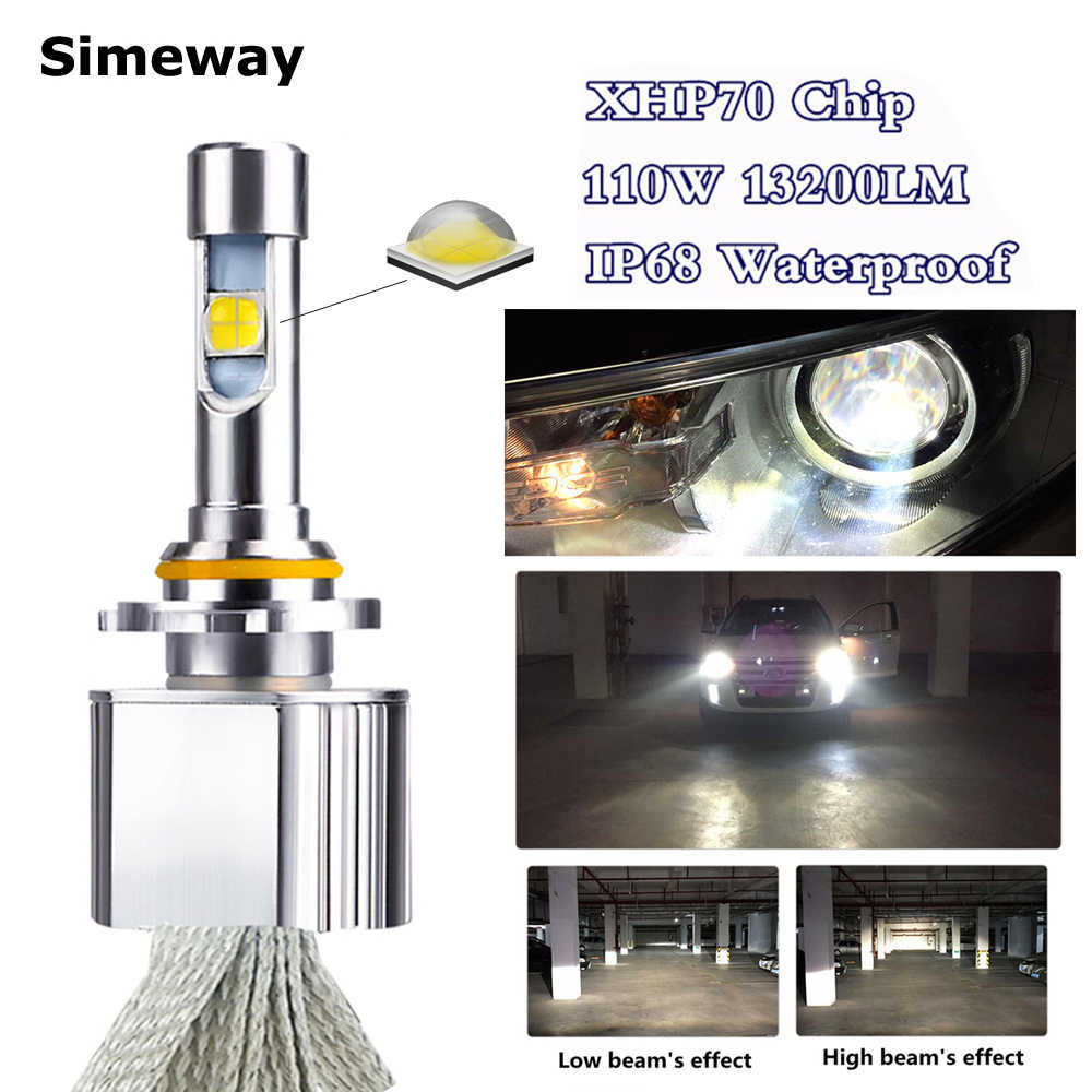 Car xhp70 LED HB3 9005 Headlight Kit 6000K 55W 6600LM super LED H11 H4 H7 H8 H9 HB4 HIR2 9004 H13 D2S car styling fog lamps 12V