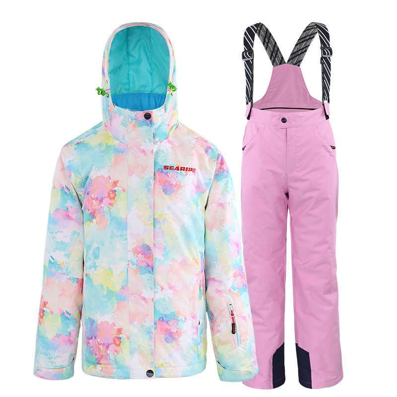 SEARIPE/детская одежда Зимний лыжный костюм ветрозащитные 10000 лыжные куртки + зимние штаны, одежда для девочек на открытом воздухе-30 градусов
