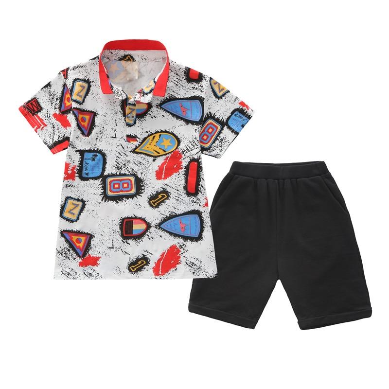 Boys Clothes Summer Kids Polo Shirt Shorts 2Pcs Set Boys ...