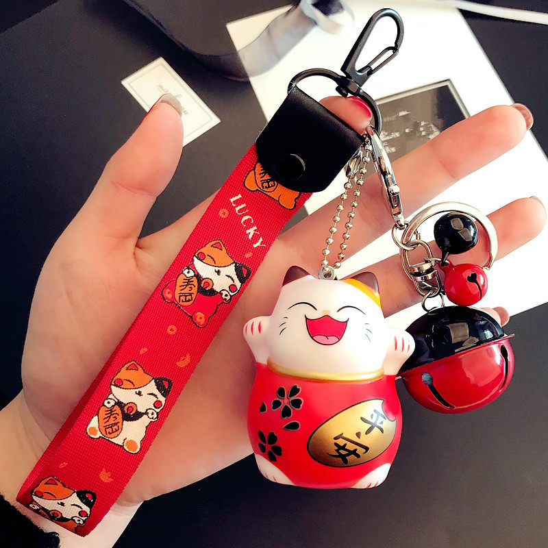 1PC Cat Key Chain Red Maneki Fortune Lucky Beckoning Cat Bell Cartoon Key Ring Pendant Gift For Men And Women YLM9553