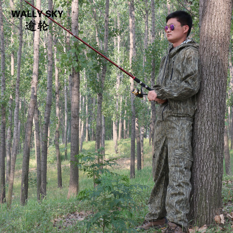 Mens Forest Bark Bionic Camouflage Suit Ghillie Suit Hooded Outdoor Hunting Bird Watching Photography Fishing Clothes Bow Hunt free shipping hunting clothing pants jungie tactical bionic camouflage fishing bird watching hunting set water proof scratch