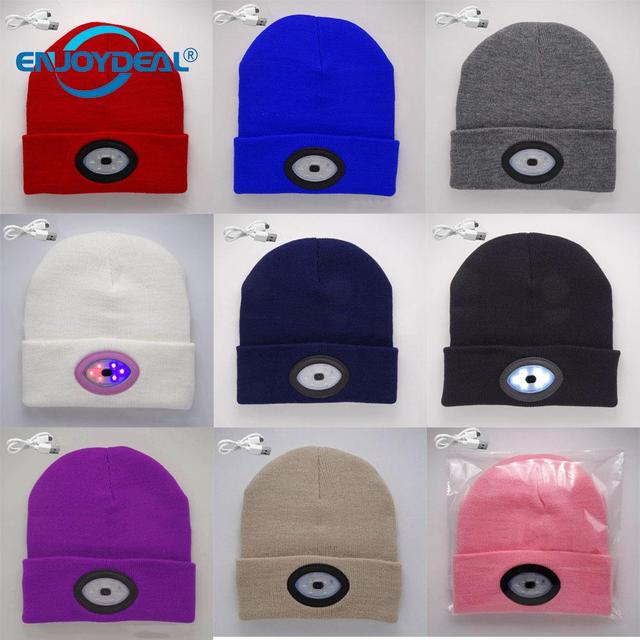 6e03ead1f3650 New 6 LED Headlamp Knit Hat USB Rechargeable Head Light Hands Free Flashlight  Beanies Cap for