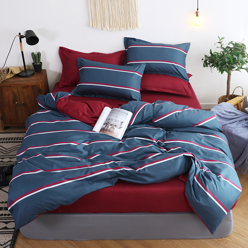 Soft Comfortable Duvet Cover Set Twin Full Queen King Size (Duvet Cover + Bed Flat Sheet + Pillow Case)   AB Side