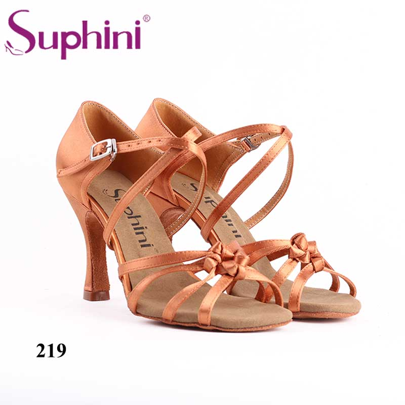 Free Shipping Suphini Dark Tan Satin Woman Latin Salsa Dance Shoes цены