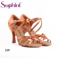 Бесплатная доставка Suphini темный загар Атлас женщина Латинской сальсы Обувь для танцев
