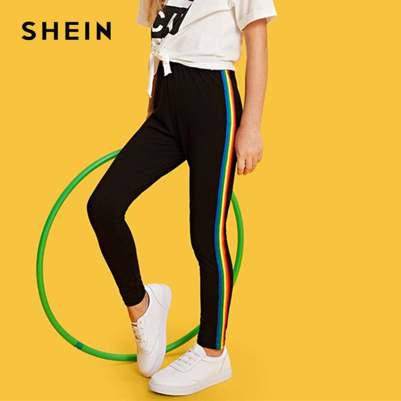 SHEIN Kiddie Black Rainbow Striped Tape Side Casual Pants Girls Leggings 2019 Active Wear Elastic Waist Trousers Kids Clothing girls contrast tape pants