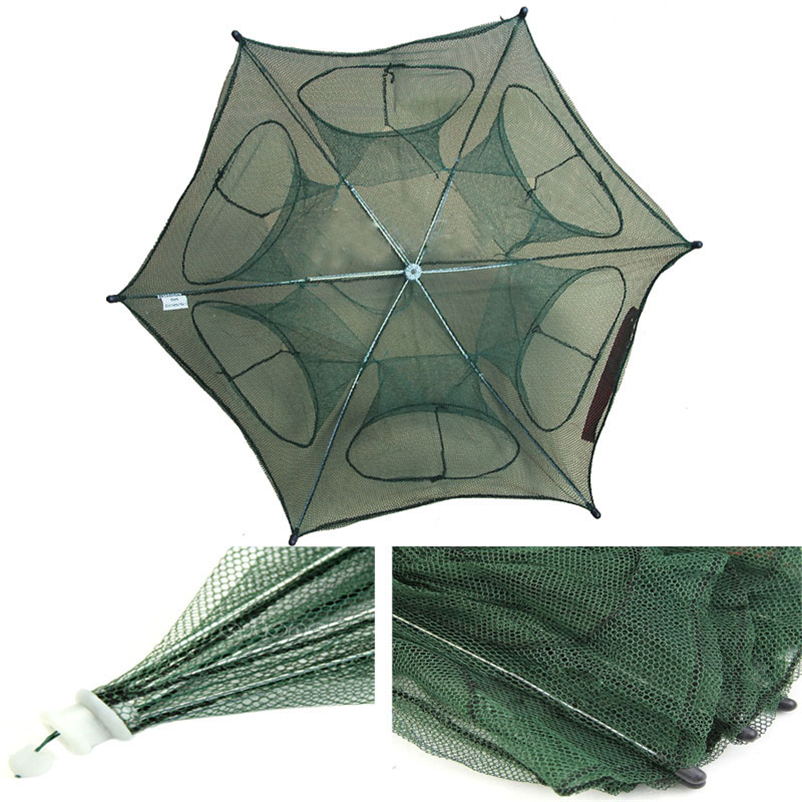 Folded Portable Hexagon 6 Hole Automatic Trap Fishing Net Fish Shrimp Minnow Crab Baits Cast Mesh Trap #4MY10 (1)