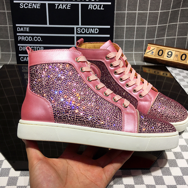 Bling Bling High Top Woman Pink Sneakers Lace-up Casual Shoes Plus Size 42 Patchwork Genuine Leather Sneaker Zapatos De Mujer