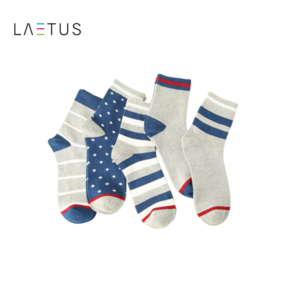 Laetus Mens Fashion Japanese Style Striped Dot Star Pattern Soft Warm Comfortable Cotton Casual Funny Crew Socks 5 Pairs/Lot