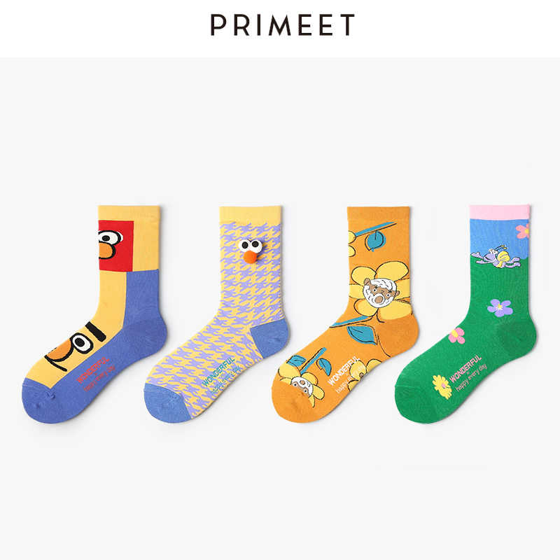 VVQI socks women streetwear harajuku kawaii funny Sesame Street Elmo Flo  Bear Cartoon animal print cute yellow cotton 5pair gift