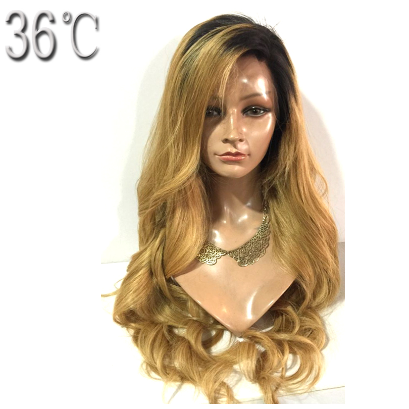36C Body Wave Full Lace Wig Brazlian Non-remy Hair 150 Density Ombre Color Side Part 20 Inches Human Hair Wig for Black Women