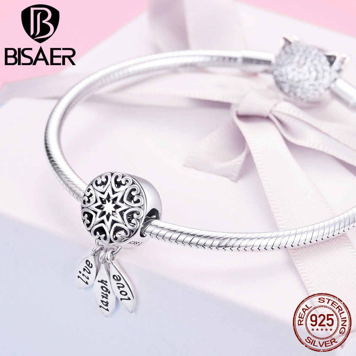 Bisaer 925 prata esterlina redonda contas de metal para charme pulseira ao vivo rir amor coragem moda jóias presentes para a menina gxc1128