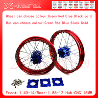 15mm Front 1.60 14 Rear 1.85 12 Alloy Wheel Rim with CNC Hub For KAYO HR 160cc TY150CC Dirt Bike Pit bike 12 14 inch wheel