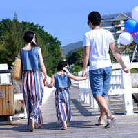 Father Daughter Clothes Family Matching Outfits Summer Chiffon T Shirt + Striped Pants Family Beach Dress size 3 4 5 6 7 8 years