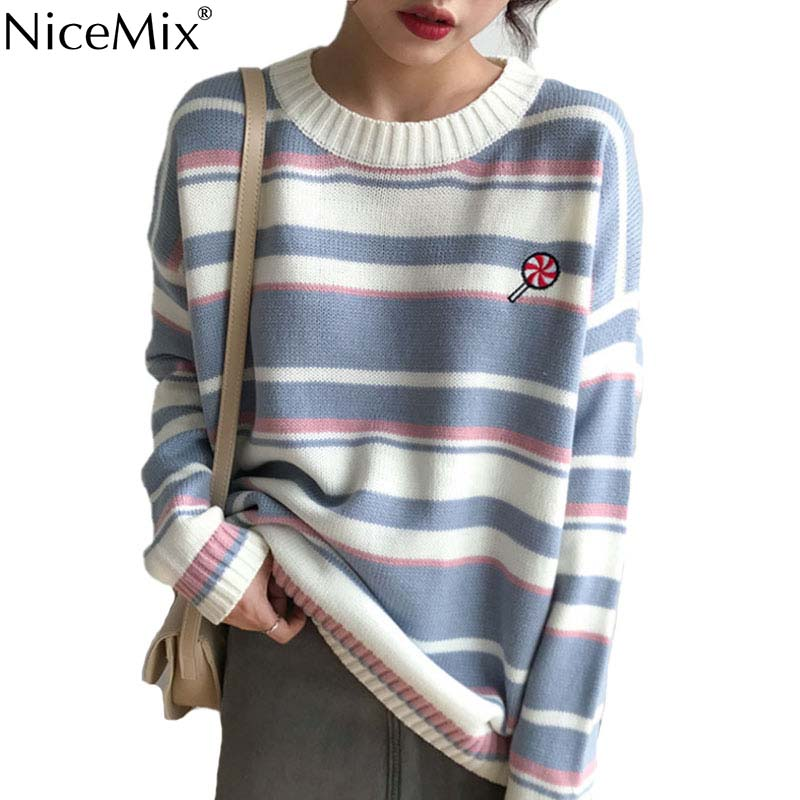 NiceMix Autumn Stripe Sweater Women Pullovers Embroided Jumpers Korean Winter Clothes Pull Hiver Femme 2019