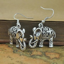 Fashion Vintage Tibetan Silver Color Carved Elephant Dangle Hook Earrings For Women Gift Jewelry