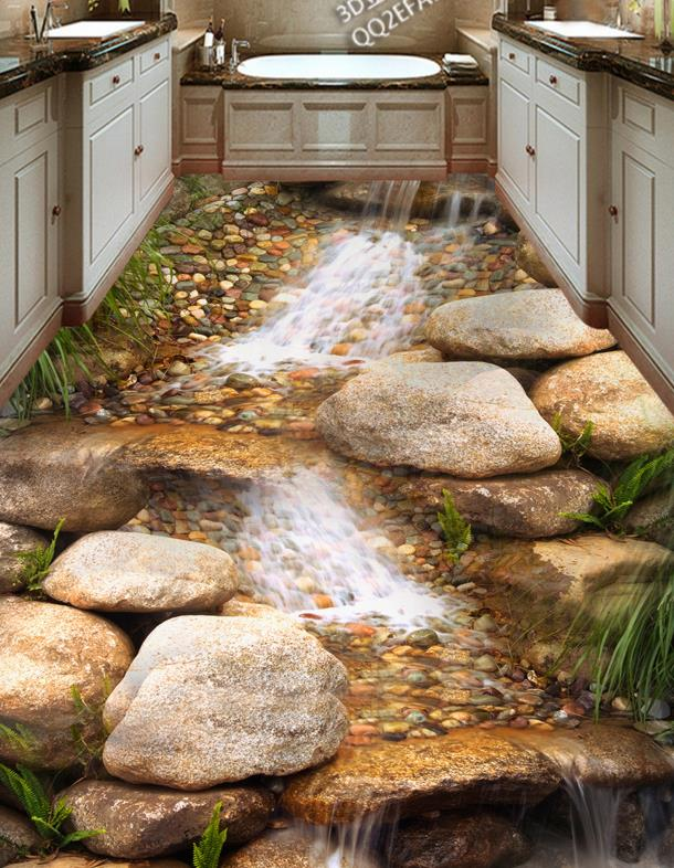 3D floor tiles custom creative 3d floor river rock stream non slip     3D floor tiles custom creative 3d floor river rock stream non slip  waterproof self adhesive vinyl flooring in Wallpapers from Home Improvement  on