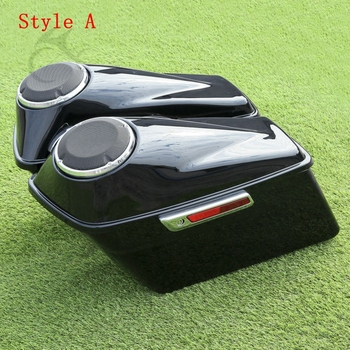 "Motorcycle 6.5"" Speaker Saddle Extended Stretched Saddlebag For Harley Touring Road King Electra Street Glide FLHR FLHT 14-19"