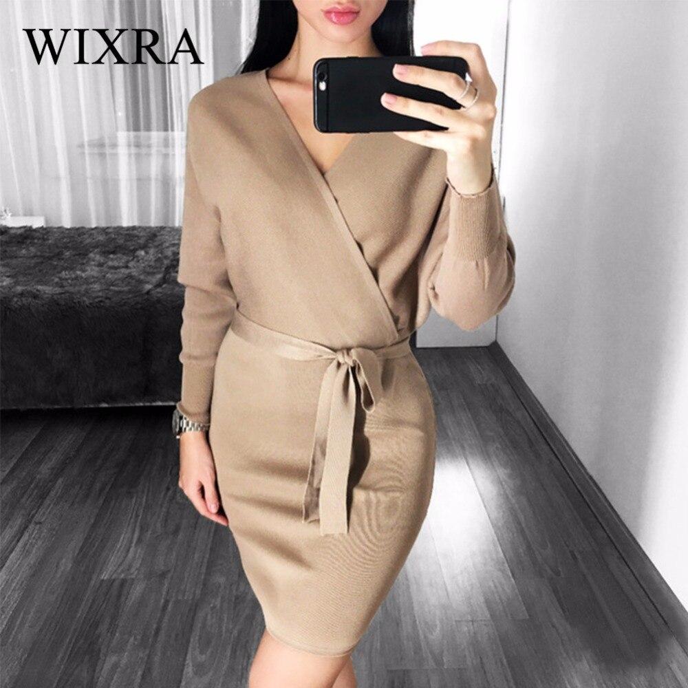 Wixra 2017 automne hiver femmes mode Sexy croix col en v Mini robes femme chauve-souris à manches longues ceinture tricoté robe pull