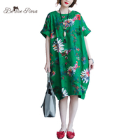 BelineRosa 2017 Big Sizes Women Clothing Bohemian Style Chinese Style Floral Printing Cotton Linen Dress 4XL