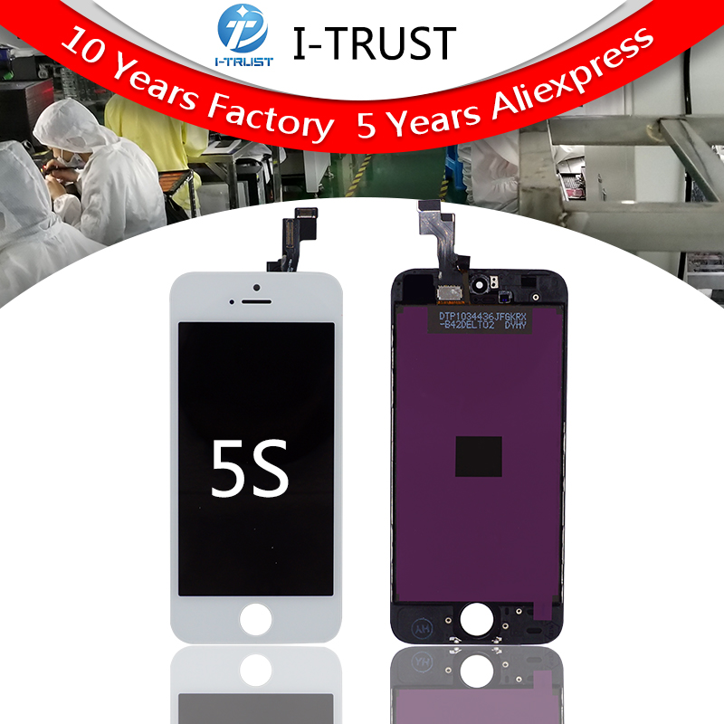A No Dead Pixel Spot Touch Digitizer LCD Screen Assembly Replacement for iPhone 5S Ear Speaker