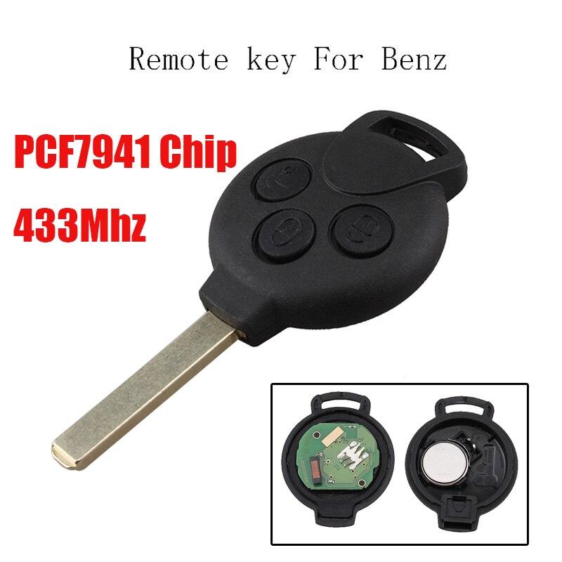 3 Buttons Remote Car key Keyless Entry for MERCEDES Benz Smart 451 434MHz Transponder Chip PCF7941 fuzik keyless go smart key keyless entry push remote button start car alarm for honda accord odyssey crv civic jazz vezel xrv