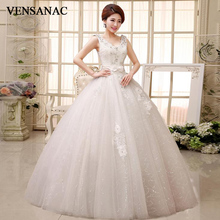 VENSANAC 2018 Crystal V Neck Lace Flowers Appliques Ball Gown Wedding Dresses Sequined Bow Sash Backless Bridal Gowns