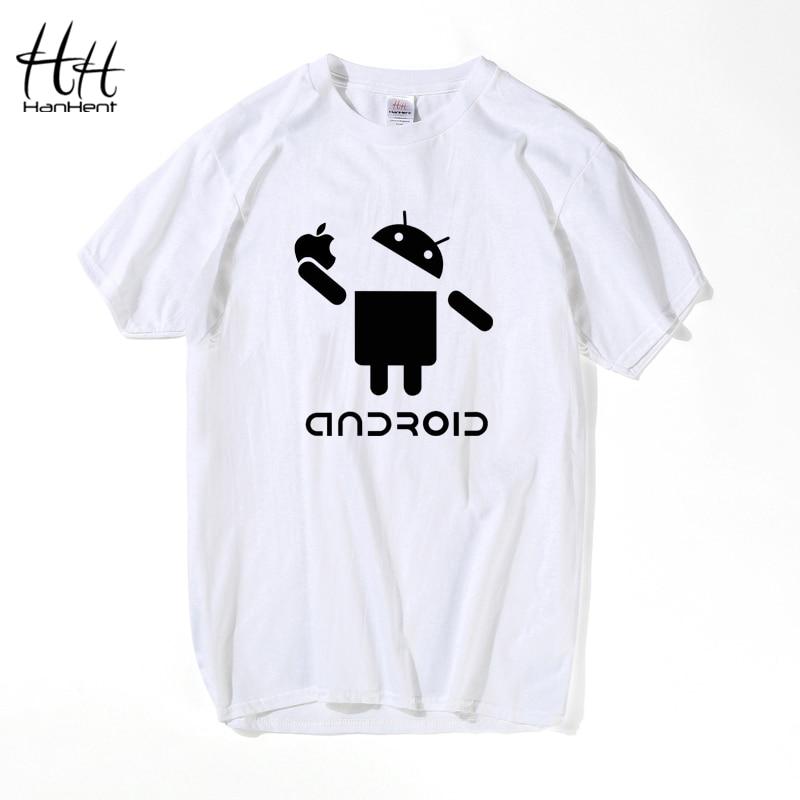 HanHent Android Print Men T-shirt Shirts Cool Cotton Tshirt Short Sleeve Summer Streetwear Brand New Swag T Shirts TA0303