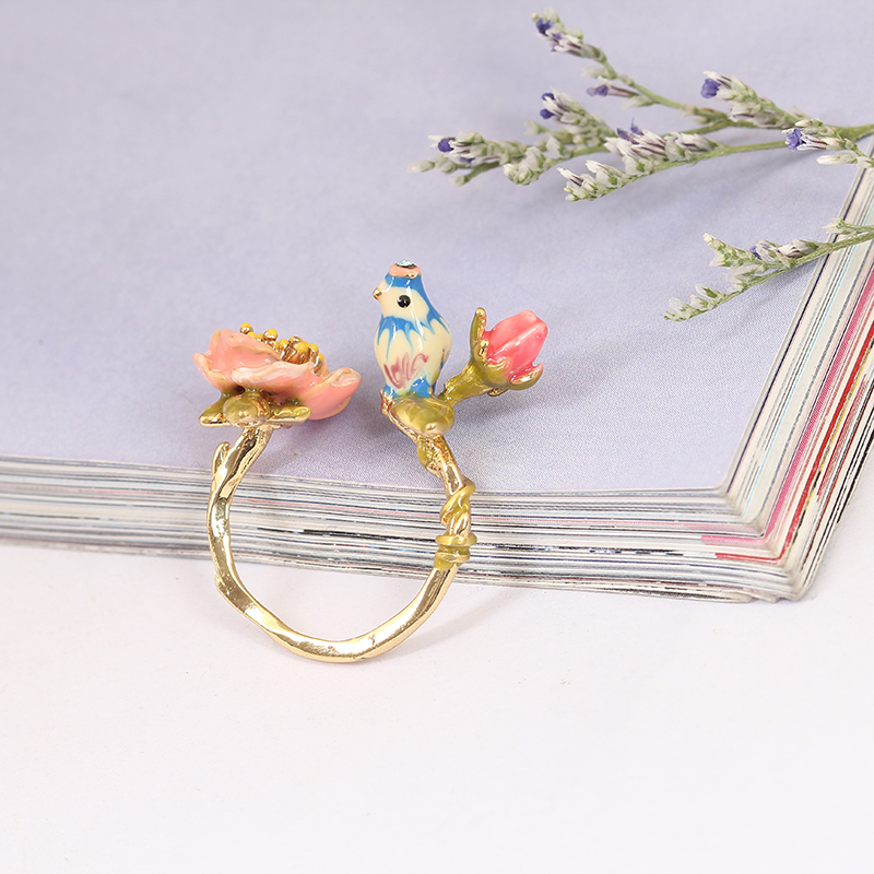 2016 Hot Sale Three-dimensional Pink Colour Rose Blue Tit Birdie Adjustable Wedding Ring Gold Jewelry For Women Gift new pure au750 rose gold love ring lucky cute letter ring 1 13 1 23g hot sale