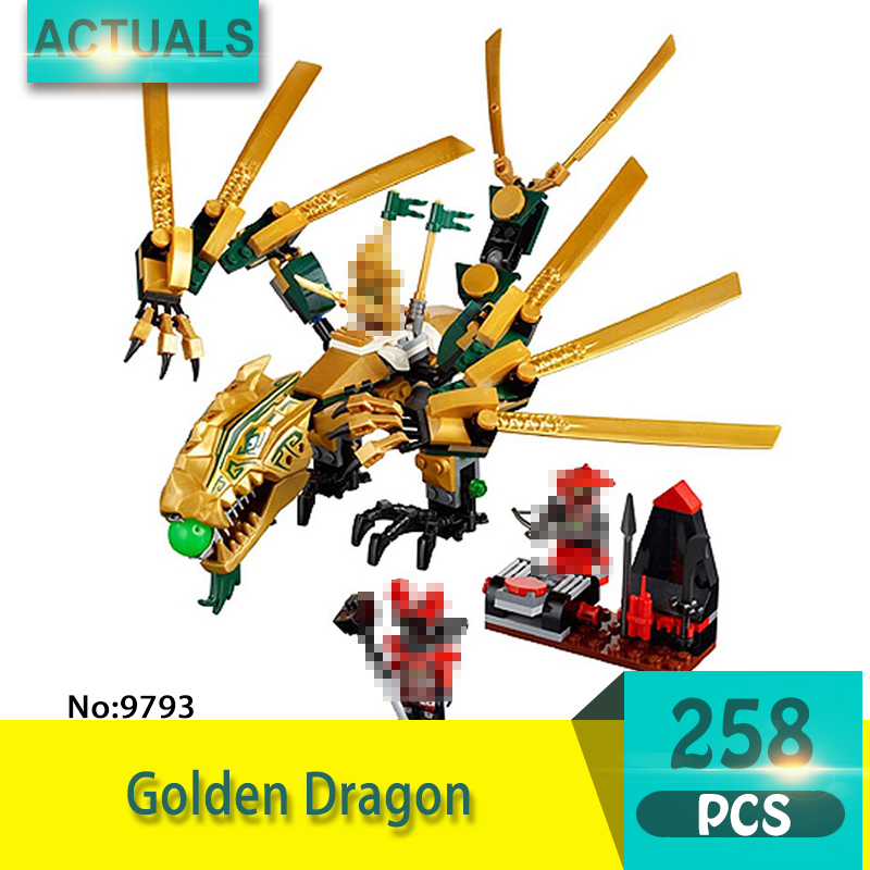 bela 9793 258Pcs Ninja series Golden Dragon Model Building Blocks Set Bricks Toys For Children Gift