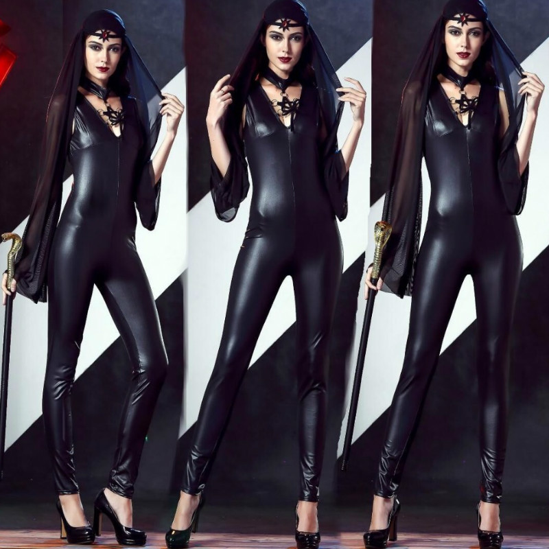 2018 New Adult Womens Sexy Black PU witch Jumpsuit sets For Women sexy halloween costume fantasia sexual witch Cosplay