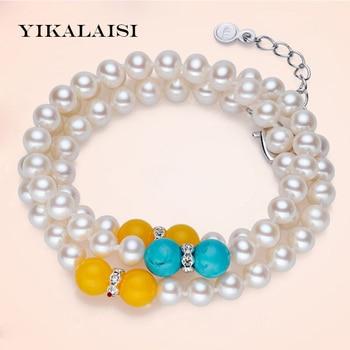 42dac507a660 Yikalaisi 2017 nueva moda real natural de agua dulce perla pulsera 7-8mm  genuino joyería de la perla con 925 joyería