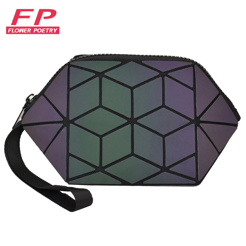 New Geometric Luminous Women Cosmetic Bag Organizer Zipper Makeup Ladies Folding Cosmetic Noctilucent Pouch Travel Make Up Bag