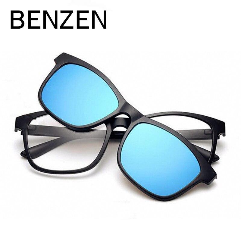 ca09424d4e5a9 BENZEN TR Óculos de Condução Masculino Dos Homens Polarizados Clip  Magnético Clip On óculos de Sol Óculos de Miopia Quadro Com Caso Ímã 9139  em Óculos de ...