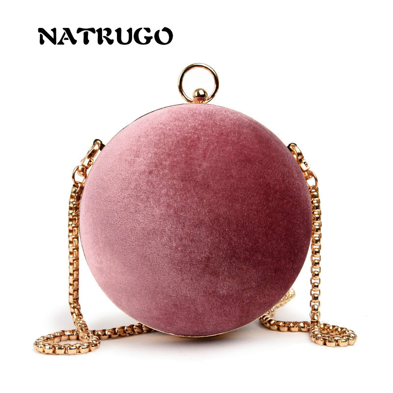 Matte Round Ball Handbags Women Famous Brand Retro Leather Velvet Box Bag Fashion Chain Shoulder Clutches Bags
