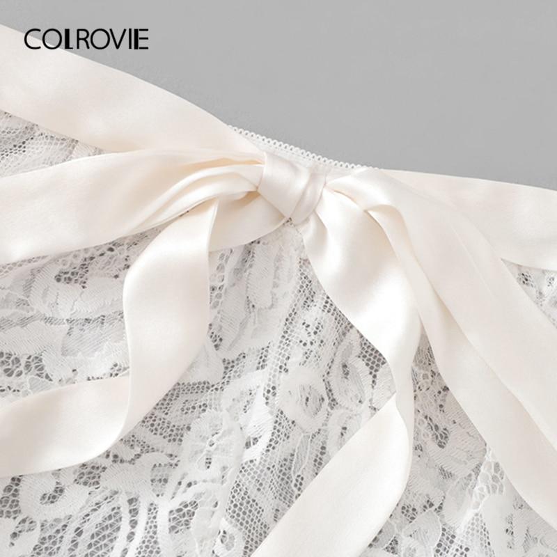 Image 3 - COLROVIE White Solid Tie Eyelash Ribbon Christmas Lace Sexy Intimates Women Lingerie Set 2019 Fashion Bralette Underwear Bra Set-in Bra & Brief Sets from Underwear & Sleepwears