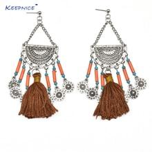 Handmade Ethnic Gypsy party jewelry crystal chandelier earrings crystal beads tassel dangle science earrings faux crystal filigree chandelier earrings