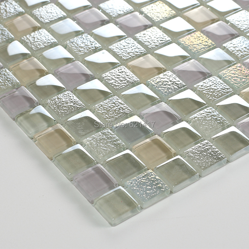 Square Clear Shining Stainless Glass Mosaic Kitchen Backsplash Glass