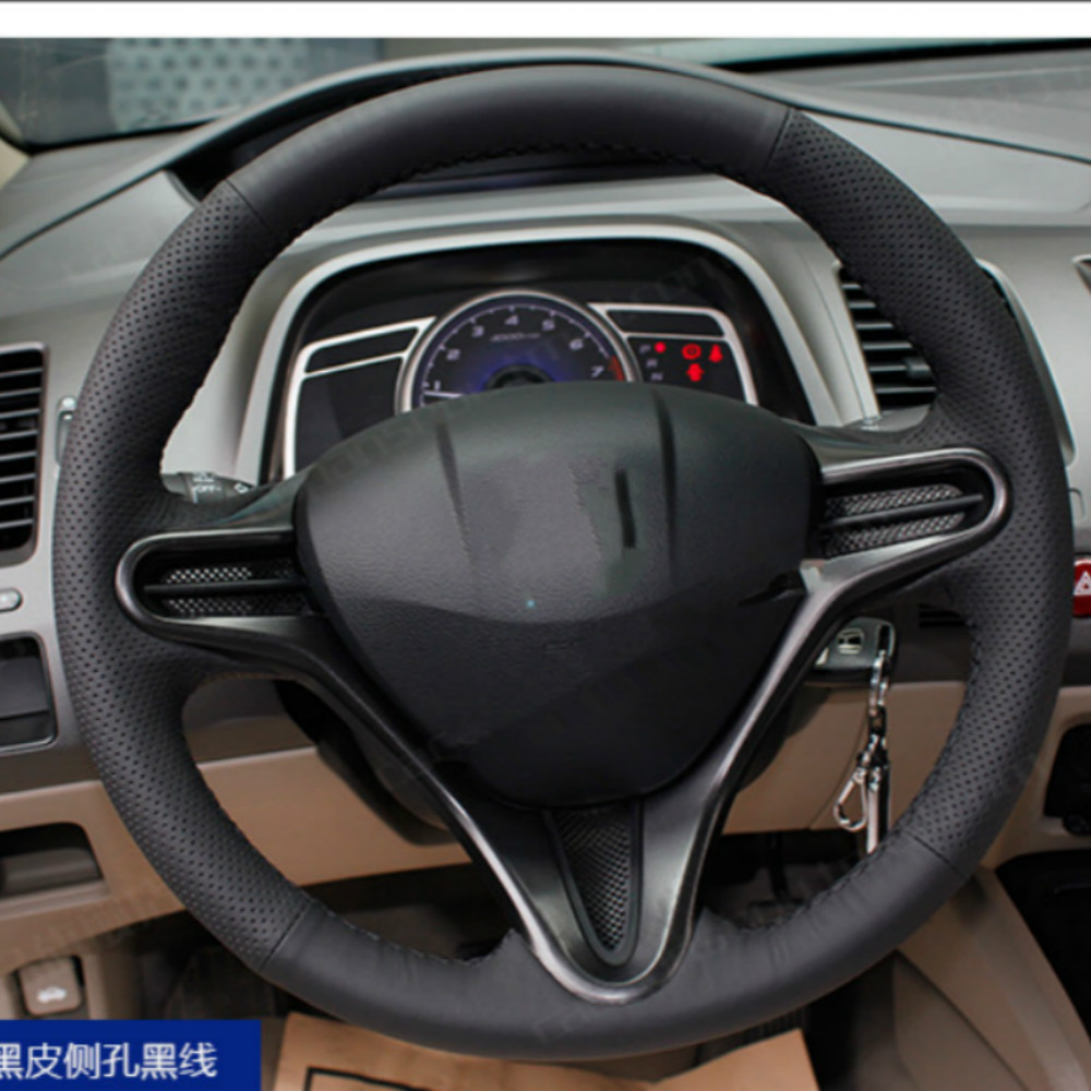 Special leather car steering wheel cover for honda civic fit jazz crv 9 automobiles hand sewn