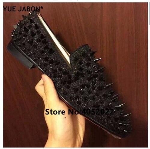 YUE Jabon luxe Designer chaussures hommes décontracté appartements rouge noir or argent cuir chaussures de mariage Rivet clouté à pointes mocassins hommes - 3