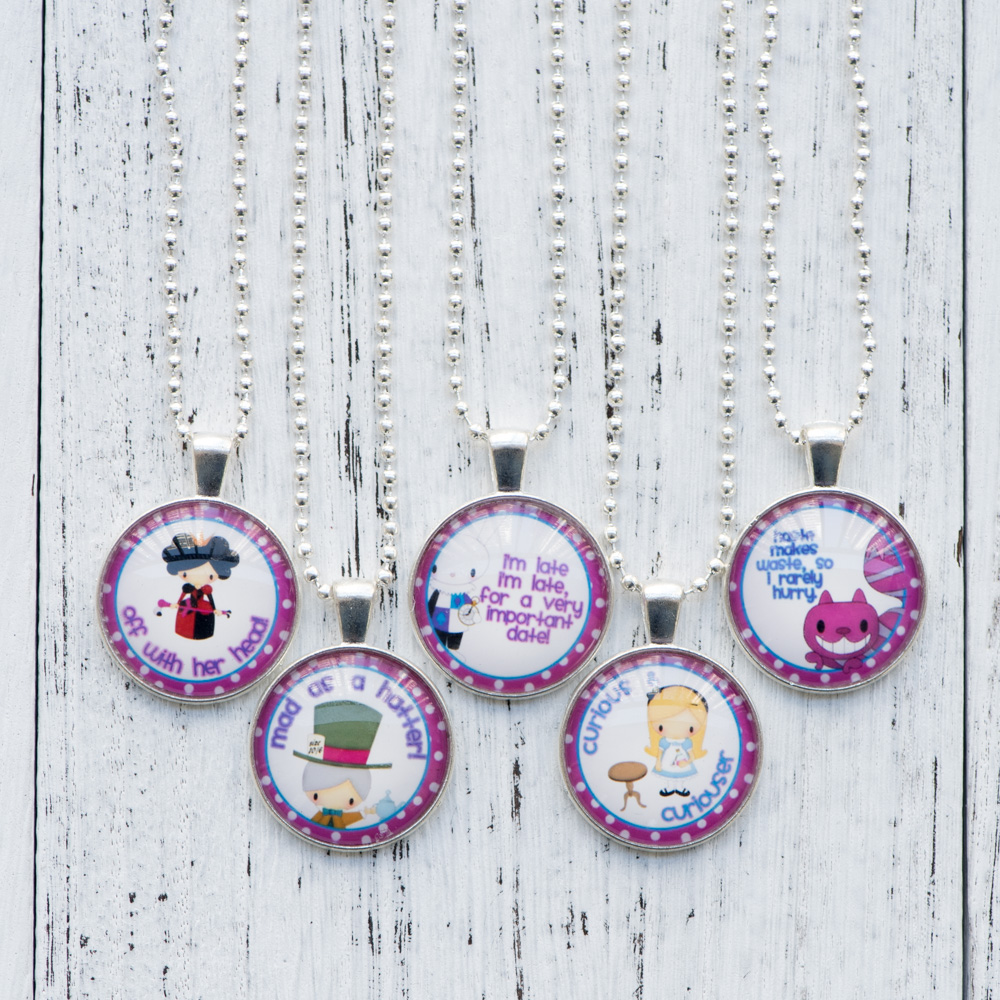 Cabochon Necklace Alice in Wonderland Photo Pendant Glass Cabochon Necklace Handmade Women Jewelry Cute Birthday Party Gifts