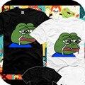 Новые Симпатичные Грустно лягушка футболка Плохо Себя Чувствует Человек футболку Смешно хлопка с коротким рукавом Майки топы