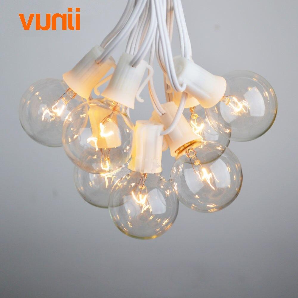 8 m branco cabo luzes do patio globo g40 luz da corda festa de natal 25