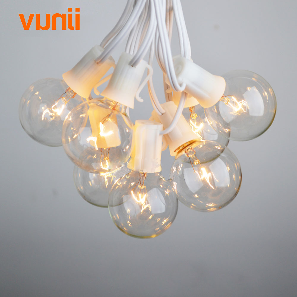 8M White Cable Patio Lights G40 Globe Party Christmas String Light, 25 Clear Vintage Bulbs,Decorative Outdoor Backyard Garland