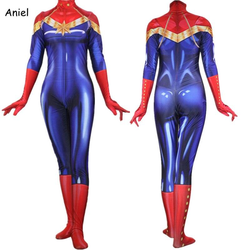 Movie Avengers Captain Marvel Cosplay Costume Ms Marvel Carol Danvers Zentai Bodysuit Suit Jumpsuits for Adult