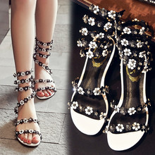 2016 Summer Beautiful Diamond Flower Elegant Casual Sandal Open Toe Leather Rome Fashion Shoes Women's High Quality