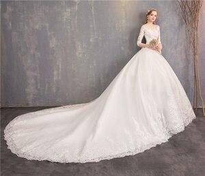 Image 4 - אופנה לבן שנהב תחרה רקמה בתוספת גודל חתונה שמלת חדש Vestidos דה novia מתוקה O צוואר ארוך רכבת bridel חצי שרוול