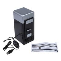 LED Portable Cooler Warmer USB Fridge Refrigerator Mini Beverage Drink Cans Cooler Power For Office Laptop