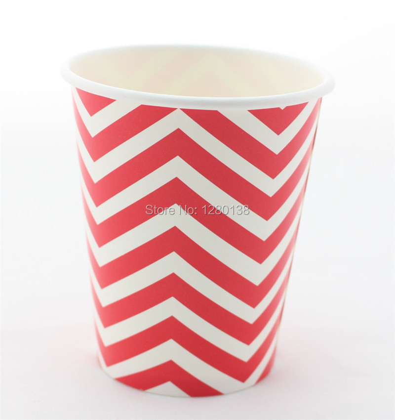 New Arrival!!! Party Supplies <font><b>9</b></font> oz <font><b>Red</b></font> Chevron <font><b>Paper</b></font> <font><b>Cups</b></font> for Wedding 12pcs/pack