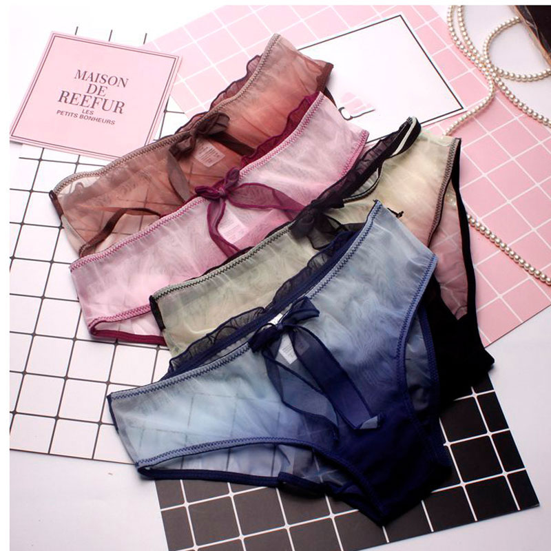 SP & VILLE Gradient De Mode Sexy Culottes Femmes Arc Doux Transparent Culottes Doux Respirant Mignon Sous-Vêtements Dames Coton Mémoires